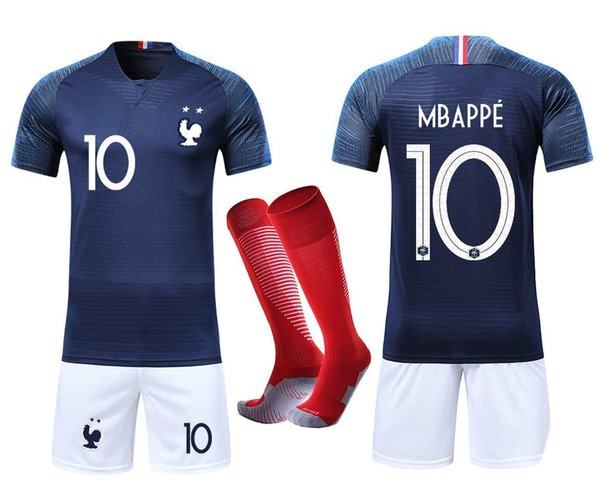 VOOA Maillots de Football Enfants de France Soccer Jersey 2018 Coupe du Monde France 2 Étoiles Footb